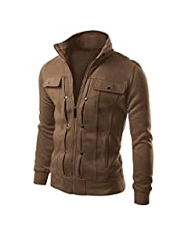 Allonly Men's Fashion Zip-up Cotton Lightweight Windbreaker Jacket Cardigans