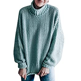 Women's Turtleneck Sweater Pullover Loose Chunky Knit Jumper