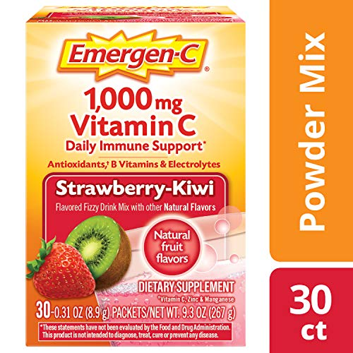 (Emergen-C Dietary Supplement Drink Mix with 1000 mg Vitamin C, 0.31 Ounce Powder Packets, Caffeine Free (Strawberry-Kiwi Flavor, 30 Count))