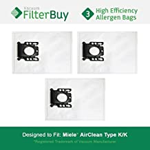 3 - Miele KK Vacuum Bags, Miele Part # 05588951. Designed by FilterBuy to replace Miele AirClean KK Vacuum Dust Bags