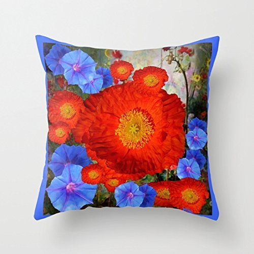 Lmunxuy 18 x 18 Orange Poppies Blue Morning Glories Garden Abstract Decorative Throw Pillow Case Cushion Cover Case Cushion Cover