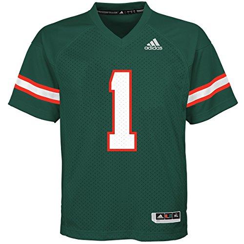 - adidas Miami Hurricanes NCAA #1 Youth Replica Green Football Jersey