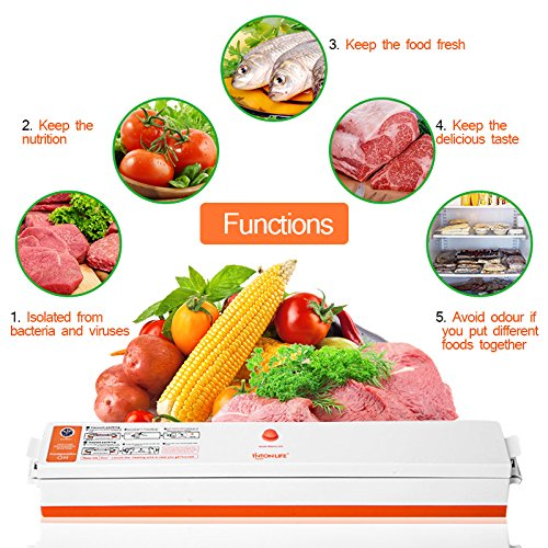 Household Food Vacuum Sealer Packaging Machine Automatic Electric Film Packer Including 15pcs Bags Foodsaver (Automatic Vacuum Electric)