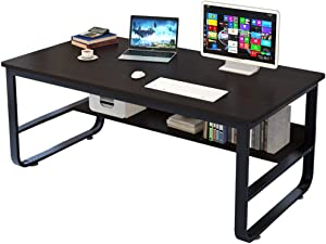 Swyss Simple Computer Desk PC Laptop Writing Study Table Workstation Wood Desktop Double Deck Modern Home Office Furniture 55.1 X 27.6 X 28.7 Inch