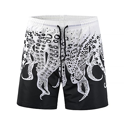 Poloru Men's 3D Print Casual Classic Drawstring Loose Fit Trunks Boardshort Shorts ()