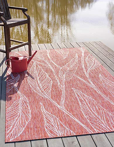 Leaves Transitional Rug - Unique Loom Outdoor Botanical Collection Casual Leafs Transitional Indoor and Outdoor Flatweave Rust Red Area Rug (6' x 9')
