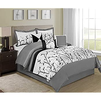 Amazon Com Chezmoi Collection 7 Piece White Grey And