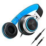 AILIHEN C8 Headphones with Microphone and Volume Control for Smartphone (Black Blue)