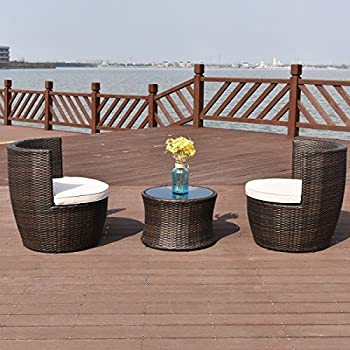 Beau TANGKULA 3 Piece Patio Furniture Set Wicker Rattan Outdoor Patio  Conversation Set With 2 Cushioned Chairs U0026 End Table Backyard Garden Lawn  Chat Set Chill ...