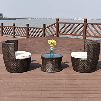 amazon com tangkula 3 piece patio furniture set wicker rattan rh amazon com rattan outdoor garden furniture 9 piece cube set rattan outdoor garden furniture covers