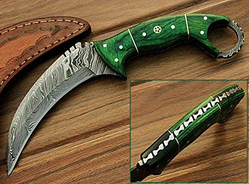 Noshra Wholesale Green Wood Handle 8.2'' Fixed Blade Custom Handmade Damascus Steel Hunting Knife Prime Quality Blade
