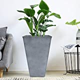 Tall Planter 26'' Large Flower Pot, Patio Deck Indoor Outdoor Garden Tree Resin Planters, Gray