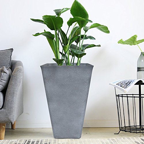 Tall Planter 26'' Large Flower Pot, Patio Deck Indoor Outdoor Garden Tree Resin Planters, Gray by LA JOLIE MUSE
