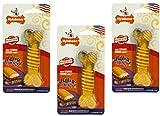 (3 Pack) Nylabone Flavor Frenzy Dura Chew Cheesesteak Flavored Bone Dog Chew Toys – Size Regular For Sale