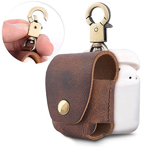 Leather Case Cover Case - Airpods Leather Case, MeanLove Genuine Leather Protective Cover Shell Skin Storage with Copper Keychain for Apple Air Pods Travel - Brown