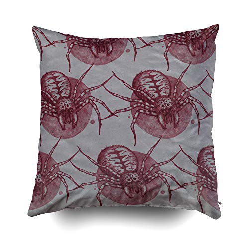 GROOTEY Gamer Pillow Case, Square Pillow Covers with Zip Couch Sofa Décor Texture Spider Scary Repeating Background Can Be Used Halloween Party As Wrapper 20X20 Throw Cushion]()