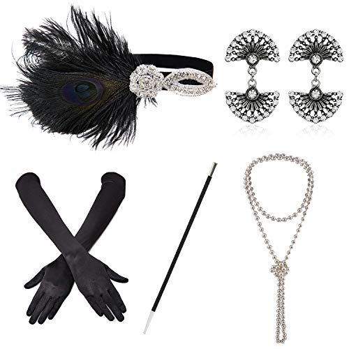 ZeroShop 1920s Accessories Headband Earrings Necklace Gloves Cigarette Holder (Medium, -