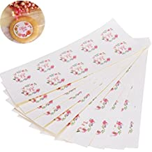 CosCosX 60 Sheets 600 Pcs Flower Thank You Stickers Craft Paper Labels Self-Adhesive Sealing Sticker Floral Thank You Decorative Label for Invitations Envelope Letter,Wedding,Scrapbooking,Cookies