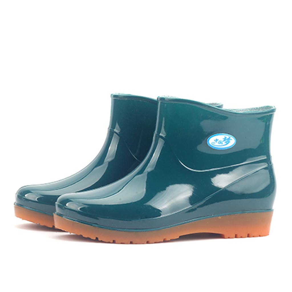 Rubber Rain Boots for Women,Waterproof Rain and Garden Boot with Comfort Insole Low Heel Round Toe Shoes (Green, US 5.5)