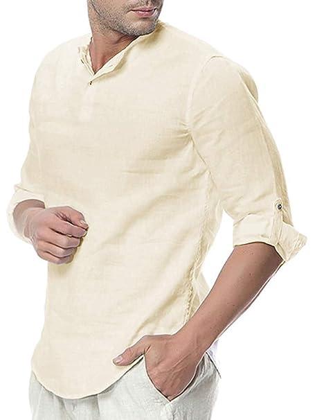 Amazon.com: Taoliyuan Henley - Camisa de lino para hombre ...