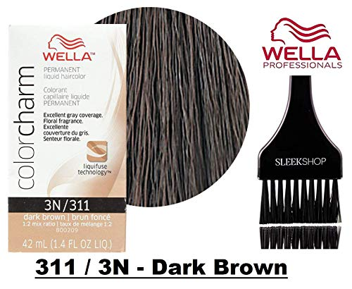 Wella COLOR CHARM PERMANENT Liquid Haircolor (w/Sleek Tint Brush) Excellent Gray Coverage, Floral Fragrance, 1:2 Mix Ratio Hair Color (311 / 3N - Dark Brown)