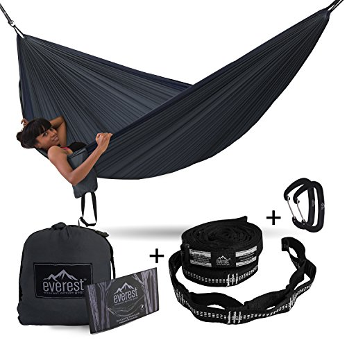 Camping Hammock - Everest | Double Outdoor Hammocks Carabiners & Tree Saver Straps Parachute Ripstop Diamond Weave Nylon Lightweight Portable Hiking, Backpacking & Travel