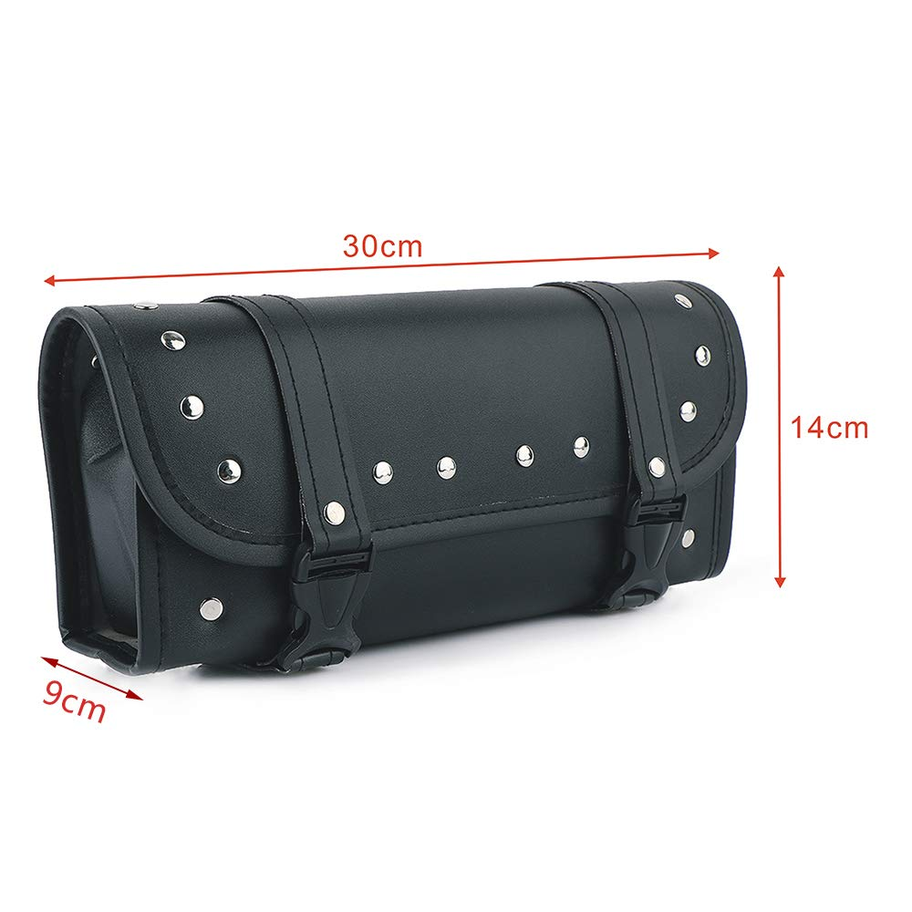 Qlhshop Motorcycle Front Fork Tool Bag PU Leather Handlebar Bags Motorbike Black Saddlebag for Yamaha Harley Davidson Sportster Softail Dyna 5559084397