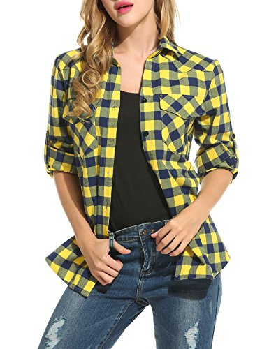 Blouse Automne Chemisier Casual Carreaux T Shirt Femme Jaune Chemises Keelied Tunique Coton 0wfq6gnE