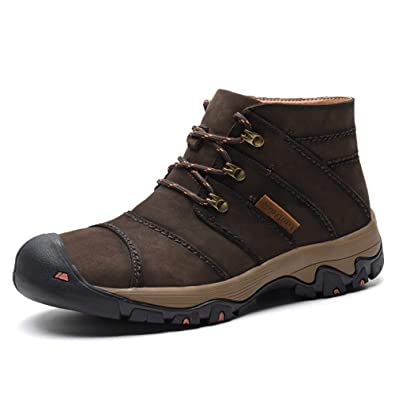 ee12c448b209ea VILOCY Men's Outdoor High Top Hiking Trekking Shoes Lace Up Sport Ankel Walking  Sneaker Boots Dark