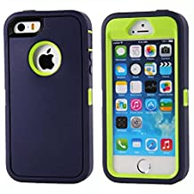 iPhone SE Case, Lookly [Armorbox Series] Heavy Duty Rugged Scratch Resistant Shockproof Full Body Protective with Built-in Screen Protector Case for Apple iPhone 5S/SE (Navy Green)