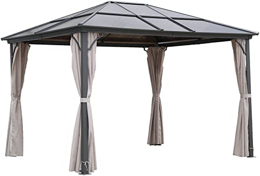 Carpa para jardín osoltus con techo rígido y mosquiteras de 3x3, 6 m, de aluminio y policarbonato.: Amazon.es: Jardín