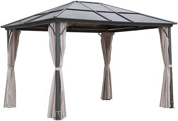 Carpa para jardín osoltus con techo rígido y mosquiteras de 3x3,6 m, de aluminio y policarbonato.