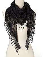 Cindy and Wendy Lightweight Triangle Floral Fashion Lace Fringe Scarf Wrap for Women