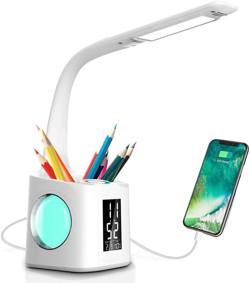 Lámpara de Escritorio LED Wanjiaone con Portalápices, 10W Lámpara de Mesa Regulable Pantalla LCD y Carga USB, Luz de Noche con 3 Niveles de Brillo y 256 Colores de Luz RGB para Estudiar y Dormir