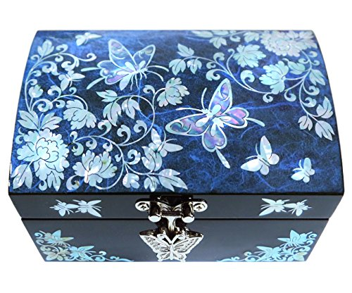 Jewelry Box Ring Organizer Mother of Pearl Inlay Mirror Lid Butterfly (Butterfly Mother Of Pearl)