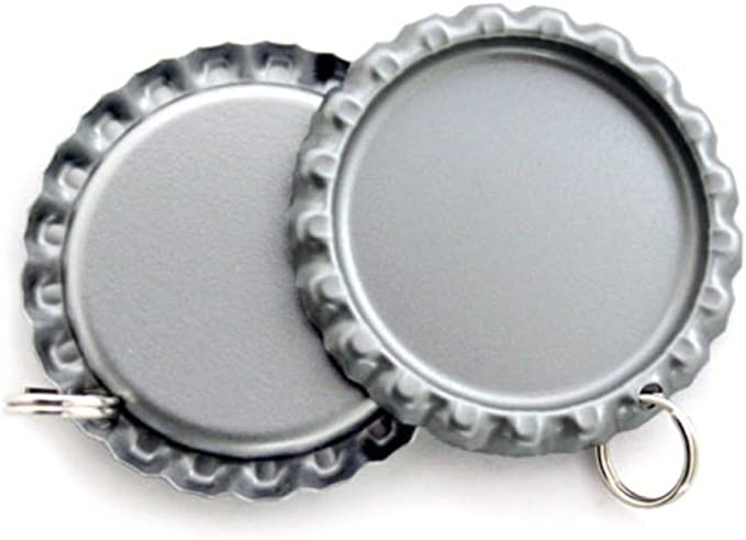 200 tapas planas de plata sin forro para botellas con agujeros y anillos de 7 mm, tapas para botellas de cromo plano (200 unidades): Amazon.es: Juguetes y juegos