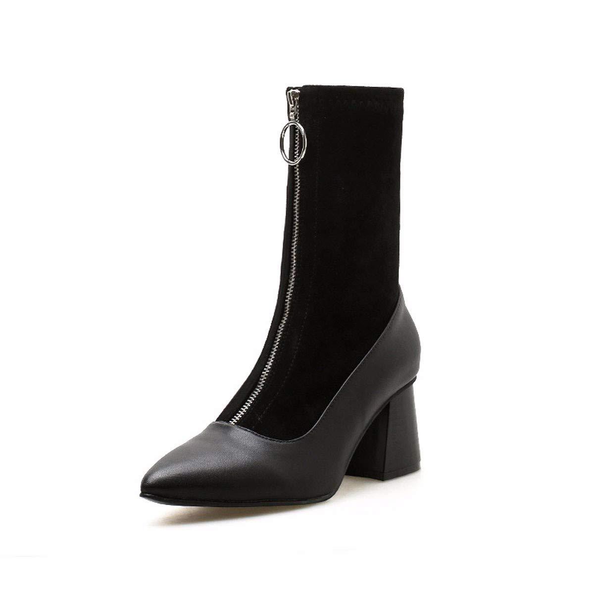 HBDLH Damenschuhe/Sexy Kurze Stiefel Mit Hohen 6 cm Rau Sharp Modisch Wild Ma Dingxue.
