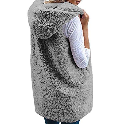 Manteau Dcontract Tefamore d'hiver Zip Fourrure Chaud Femmes Sherpa Outwear Gilet Veste Fausse Up Gris Hoodie xE0YqpYrw