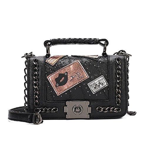 Vicue Women Messenger Bags Rivet Chain Shoulder Bag Leather (Square Purse)