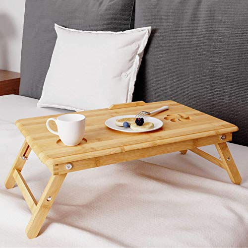 BAMEOS Laptop Lap Desk Adjustable Portable Breakfast Serving Bed Tray Adjustable & Foldable with Flip Top and Drawer, 100% Bamboo for Adult/Kids in Natural Color