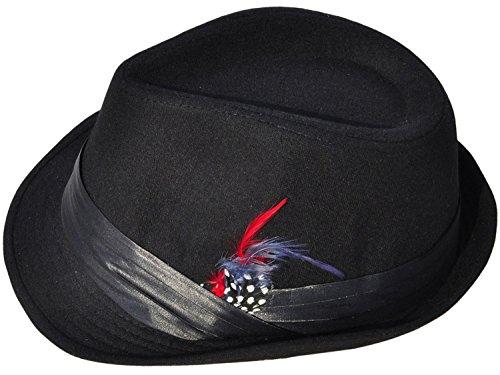 Men / Women's Classic Short Brim Manhattan Fedora Hat w/ Feather Decor, Red Fur