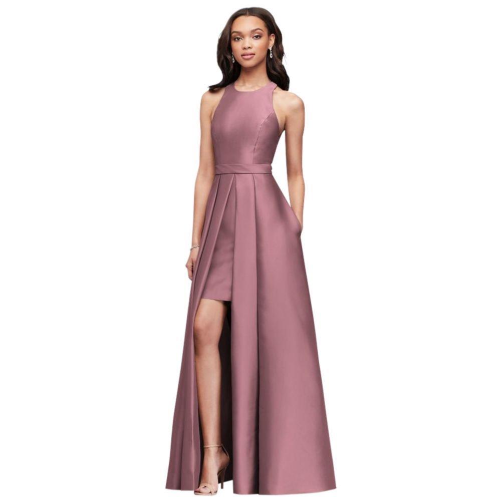 412692b7fb50 David's Bridal Mikado Bridesmaids Walkthrough Ball Gown Bridesmaid Dress  Style F19822, Quartz, 0