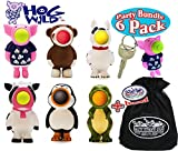 Hog Wild Keychain Poppers (Series 1) Pig, Dog, Sock Monkey, Cow, Penguin & Dinosaur Party Set Bundle with Exclusive ''Matty's Toy Stop'' Storage Bag - 6 Pack