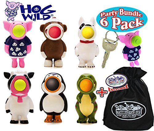 Hog Wild Keychain Poppers (Series 1) Pig, Dog, Sock Monkey, Cow, Penguin & Dinosaur Party Set Bundle with Exclusive ''Matty's Toy Stop'' Storage Bag - 6 Pack by Hog Wild