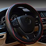 Leather Steering Wheel Covers Universal 15 inch - Genuine Leather, Breathable, Anti Slip & Odor Free (Black with Red Lines)