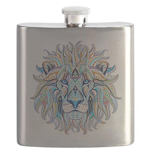 Hip Flask Patterned Lion Head