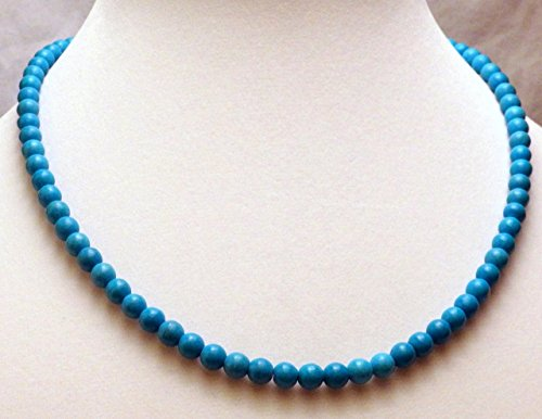Blue magnesite gemstone necklace (1215) (Magnesite Precious Semi)