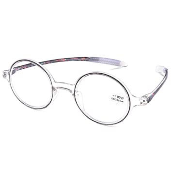 DOOViC Round Reading Glasses Flexible Lightweight Readers Glasses Clear  Frame + Pringting Arms Fashion Design for dc92e044a8
