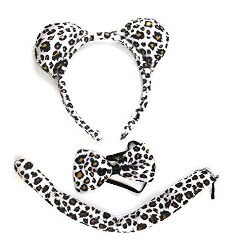 [Animal Halloween Party Costume Accessory Set for Dress Up: Headband, Tail, Bow Tie (Zebra/Leopard)] (Zebra Head Costumes)