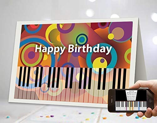 Unique AR Augmented Reality Piano Techy Happy Birthday Greeting Cards Musical Song For